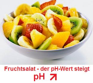Fruchtsalat, der pH-Wert steigt