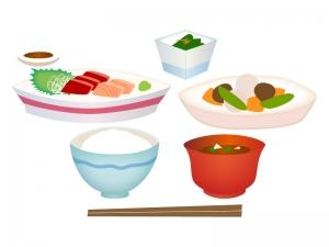 和食・お刺身定食のイラスト