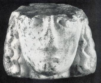 """Мраморна главичка от остров """"Св. Св. Кирик и Юлита""""."""