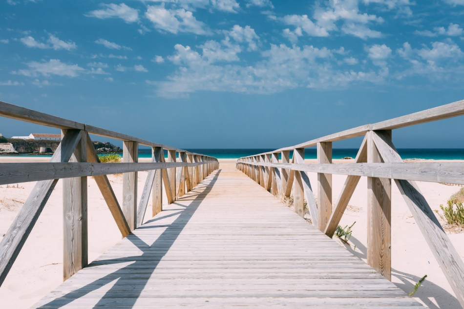 Wooden Path The Beach In Tarifa, Andalusia, Spain