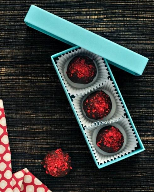 Raspberry Chocolate Brownie Truffles in a gift box
