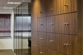 Image of Ogilvy 4D storage wall oak lockers