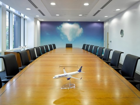 Image of Thomas Cook HQ boardroom with impact feature wall