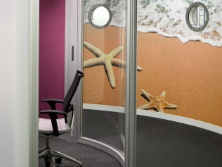 Image of digital wall decal through office pod door