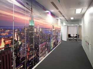 Image of Thomas Cook HQ office corridor with wall decal detail