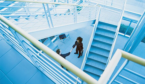 Image of Double-height office mezzanine floor and staircase installation
