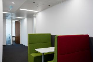 Image of upholstered office meeting benches