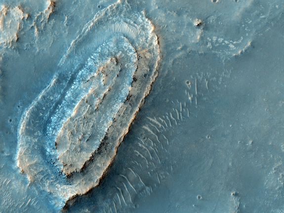 The northeast part of Syrtis Major, an ancient shield volcano, is the third candidate landing site for the Mars 2020 mission. The site is also near the northwest rim of the giant impact basin Isidis Planitia.