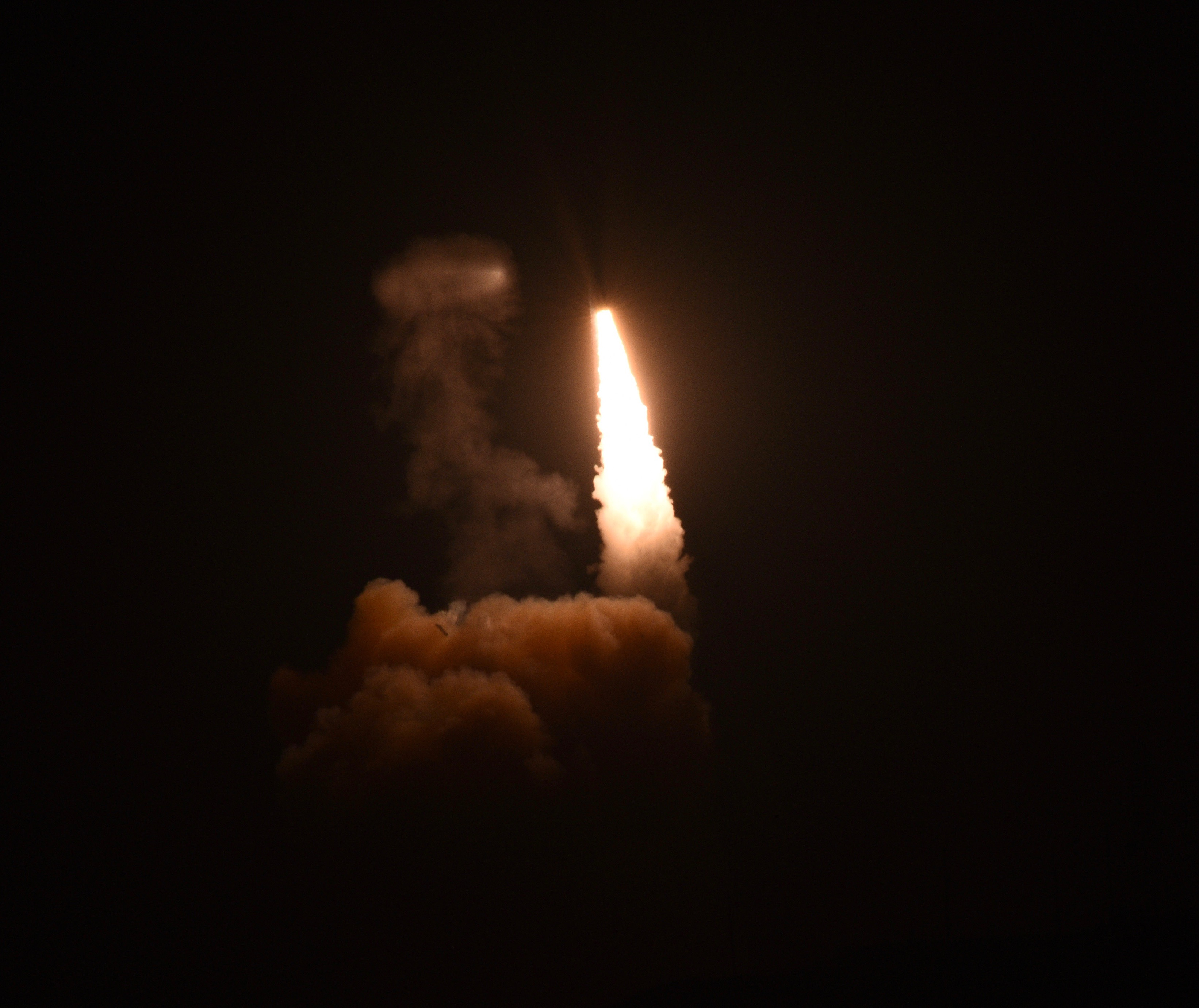 A Minuteman III intercontinental ballistic missile launches on an unarmed test run from California's Vandenberg Air Force Base just after midnight PDT on April 26, 2017.