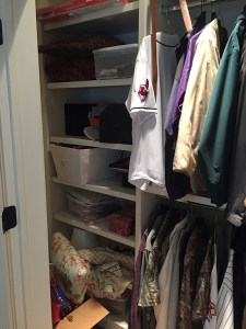 Closet Before Declutter and Tag