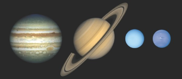 What are the cores of the gas giants made up of?