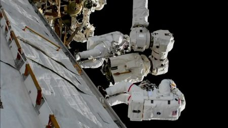 Randy Bresnik, bottom, and Mark Vande Hei work to replace the Latching End Effector for the station's robotic Canadarm2 during a 2018 spacewalk. Credit: NASA
