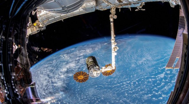 Cygnus as seen when it was captured by the Expedition 57 crew using Canadarm2. Photo Credit: NASA