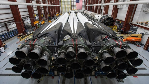 SpaceX readies its first Block 5 Falcon Heavy Space Flight inside the horizontal integration hangar just outside Kennedy Space Center's Launch Complex 39A. Photo Credit: SpaceX