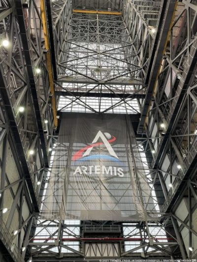 The SLS rocket, the backbone of NASA's Artemis program, is being assembled inside the voluminous Vehicle Assembly Building. Credit: Theresa Cross / Spaceflight Insider