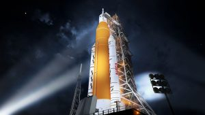 An artist's rendering of a Block 1 SLS rocket with its twin solid rocket boosters on the launch pad. Credit: NASA