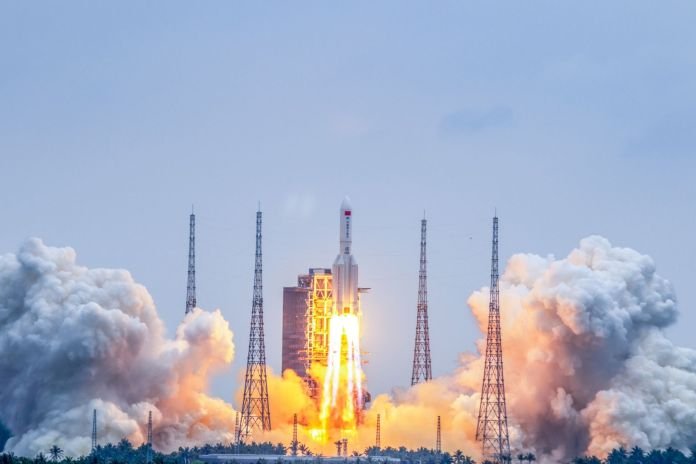 China's Long March 5B sends the Tianhe core module into orbit from the Wenchang Spacecraft Launch Site on April 29, 2021. Credit: CGTN/China National Space Administration
