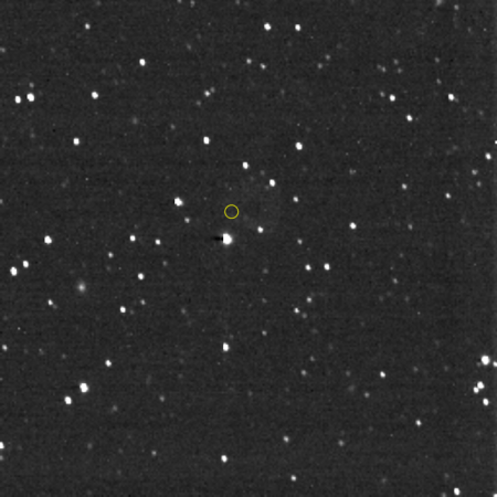 LORRI image of the starfield in the direction Voyager 1 is traveling. The yellow circle shows Voyager 1's location. Photo Credit: NASA/Johns Hopkins APL/Southwest Research Institute