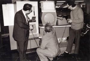Spacewar! being played on an original PDP-1 computer.