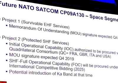 NATO gives itself 12 months for $1.2-billion satellite MoU with Britain, France, Italy, US