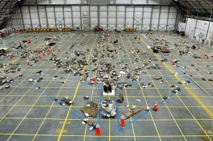 Remnants of the Space Shuttle Columbia disaster, stored in the RLV Hangar at Kennedy Space Center (Credits: NASA).