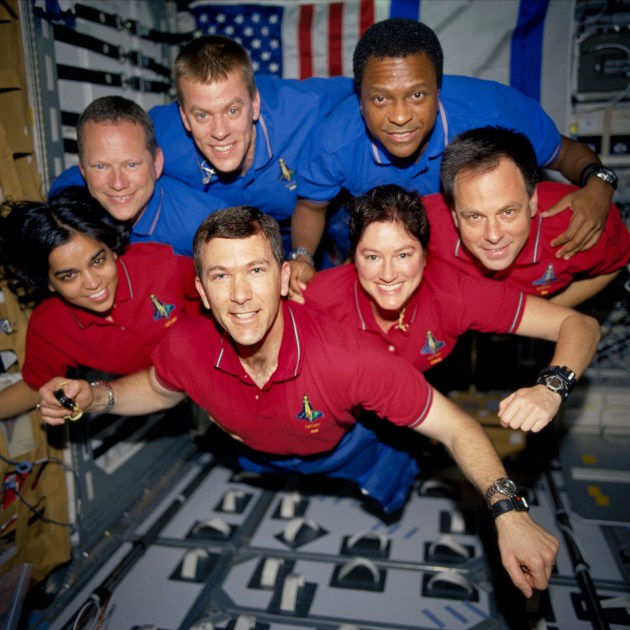 This photograph was taken aboard Columbia during STS-107; it was developed after the crew's death from film recovered in the wreckage. From top left: David M. Brown, William C. McCool, and Michael P. Anderson. From bottom left: Kalpana Chawla, Rick D. Husband, Laurel B. Clark, and Ilan Ramon. – Credits: NASA