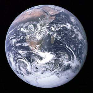 A photograph of Earth as seen by the Apollo 17 crew when 29,000 km from the planet. This photograph is known as the Blue Marble (Credits: NASA).