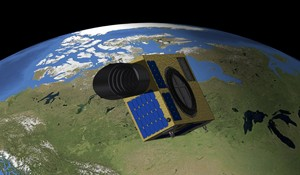NEOSSat orbiting above Canada (Credits: University of Calgary).