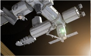 Artist's impression of Cygnus berthing with ISS (Credit: Orbital Sciences Corporation)