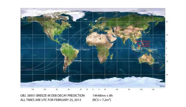 Breeze-M debris decay map