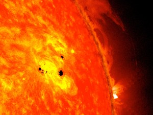 Sunspot AR1678 forms an unstable delta region Feb 19-20. This image is a composite from two instruments aboard NASA's Solar Dynamics Observatory (Credits: NASA).
