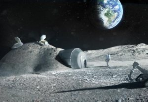 An artist's rendering of the 3D printed lunar base (Credits: ESA/Foster+Partners).