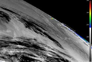 Meteosat-9 image, showing the thermal impact of the meteor (Credits: EUMETSAT).