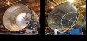 Comparison of SWT / LWT to SLWT LH2 Tank Barrels. Left: Standard Weight Tank (SWT) and Light Wight Tank (LWT) fabricated with Al 2219 alloy. Right: Super Light Weight Tank (SLWT) fabricated with Al 2219 alloy (Credits: NASA).