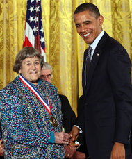 Yvonne Brill receiving the National Medal of Technology and Innovation from President Obama in 2011 (Credits: Win Mcnamee/Getty Images).
