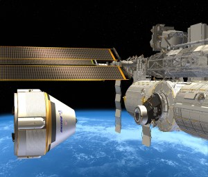 Boeing's CST-100 capsule rendered preparing to dock with ISS (Credits: Boeing).