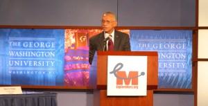 Charles Bolden, NASA Administrator, talking at the Human 2 Mars Summit (Credits: ExplorationMars).