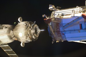 A Soyuz docking to the Rassvet module on ISS (Credits: NASA).