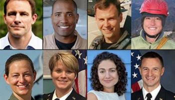 NASA's 2013 Astronaut Candidate Class. Top left to right: Josh A. Cassada, Ph. D.; Victor J. Glover, Lt. Commander, U.S. Navy; Tyler N. Hague (Nick), Lt. Colonel, U.S. Air Force; Christina M. Hammock, NOAA Station Chief. Bottom left to right: Nicole Aunapu Mann, Major, U.S. Marine Corps; Anne C. McClain, Major, U.S. Army; Jessica U. Meir, Ph.D.; Andrew R. Morgan, M.D., Major, U.S. Army (Credits: NASA)