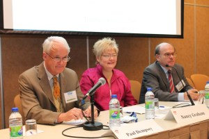 Institute of Air & Space Law  Director Paul Dempsey, Director of ICAO Air Navigation Bureau Nancy Graham, and IAASS PResident Tommaso Sgobba at a REMAT conference panel (Credits: Tommaso Sgobba).