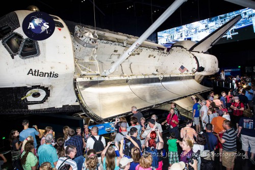 Guests fill the Kennedy Space Center Visitor Complex's Atlantis Exhibit, many of whom have never seen a space shuttle before and certainly not this close (Credits: John Studwell AmericaSpace).