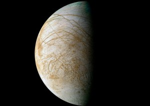 Jupiter's ice-covered moon Europa holds promising signs for life, the basic premise for the new science fiction film Europa Report. The reddish material in the photo above represents a non-ice contaminant found on the moon's surface. (Image credit: NASA/JPL/Ted Stryk)