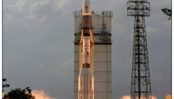 The first operational flight of India's Geostationary Satellite Launch Vehicle (GSLV)—and its first successful mission—took place in September 2004 and delivered the EDUSAT/GSAT-3 payload into orbit (Credits: ISRO).