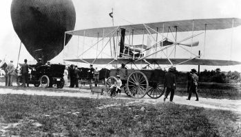 The Wright Military Flyer arrives at Fort Myer, Virginia aboard a wagon in 1908 (Credits: US Department of Defense).