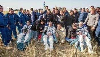 Christopher Cassidy, Pavel Vinogradov, and Alexander Misurkin rest after landing in a malfunctioning Soyuz TMA-08M (Credits: NASA).