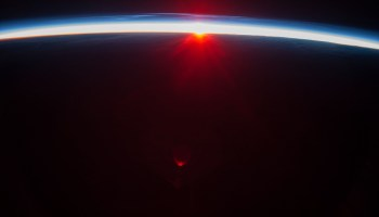 Photograph by Luca Parmitano of a sunset over the Aleutian Islands as seen from ISS (Credits: NASA).