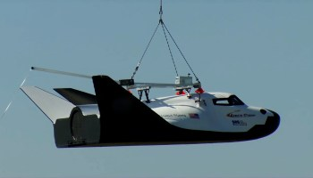 Sierra Nevada Corporation's Dream Chaser space plane conducted a free flight test at 9:45 a.m. PDT which concluded with the test article of the craft flipping over on the runway at Dryden Flight Research Center in California (Credits: SNC/NASA).