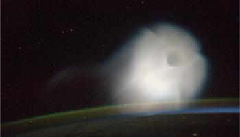 A Rusian missile as seen from ISS. This photograph was taken by astroanut Luca Parmitano.