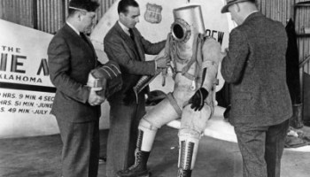 B.F. Goodrich built this suit for aviator Wiley Post, who is at left (Credits:National Air and Space Museum).