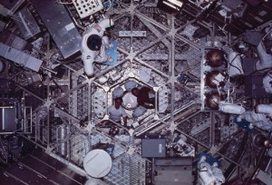 """The disorientating nature of the weightless environment, particularly in a large open volume like that of Skylab, offered many of the ingredients for """"space sickness"""" (Credits: NASA)."""